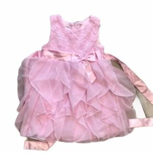3/$20 Pink ruffled dress with satin tie 2t